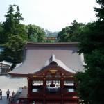 Les Torii alignés vu du temple (en France on a copié avec les arches)